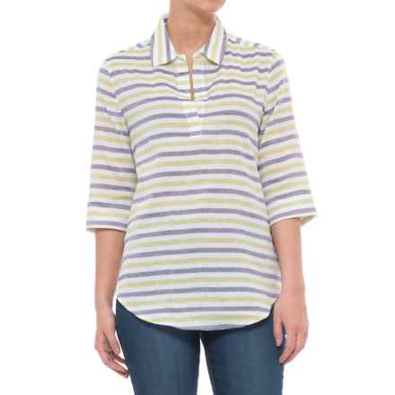 Lilla P Striped Popover Shirt - Elbow Sleeve (For Women) in Keylime - Closeouts