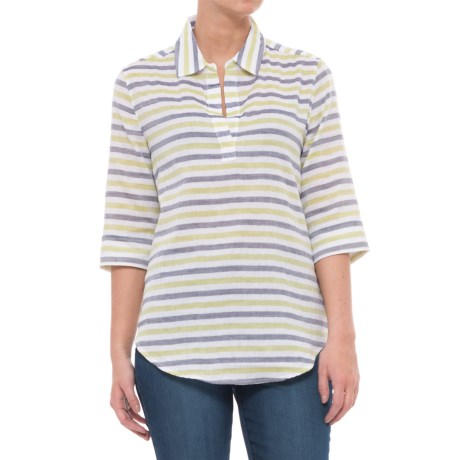 Lilla P Striped Popover Shirt - Elbow Sleeve (For Women) in Keylime
