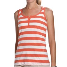Lilla P Striped Split-Placket Tank Top (For Women) in Cantaloupe/White - Closeouts