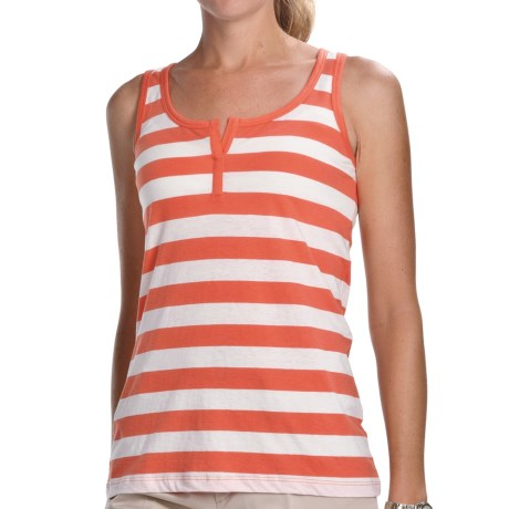 Lilla P Striped Split-Placket Tank Top (For Women) in Cantaloupe/White