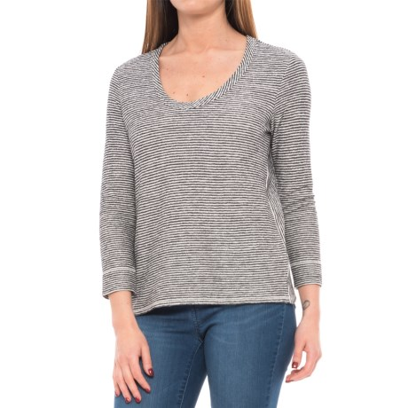Lilla P Striped Terry-Knit Scallop Back Shirt - 3/4 Sleeve (For Women) in Black/Natural
