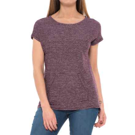 Lilla P Striped Terry-Knit T-Shirt - Short Sleeve (For Women) in Plum/Natural - Closeouts