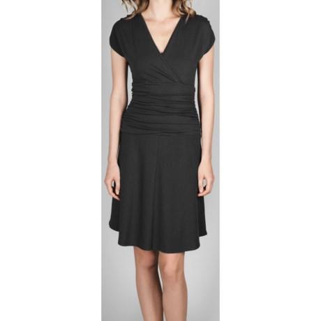 Lilla P Surplice Dress - Stretch Pima Cotton-Modal, Short Sleeve (For Women) in Black