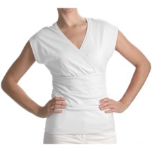 Lilla P Surplice Shirt - Pima Cotton Jersey, Flutter Sleeve (For Women) in White - Closeouts