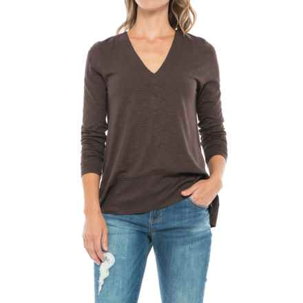 Lilla P Swing V-Neck Shirt - Pima Cotton-Modal, Long Sleeve (For Women) in Java - Closeouts