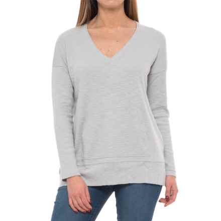 Lilla P Textured Rib-Knit Shirt - V-Neck, Long Sleeve (For Women) in Silver - Closeouts