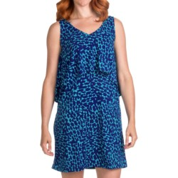 Lilla P Tiered Tank Dress - Printed Jersey, Sleeveless (For Women) in Blue Print