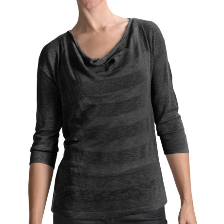 Lilla P Tonal Stripe Easy Shirt - Drape Neck, 3/4 Sleeve (For Women) in Black Stripe