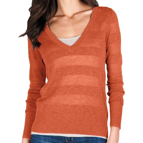 Lilla P Tonal Stripe Sweater - Lightweight, Long Sleeve (For Women) in Tigerlily Stripe