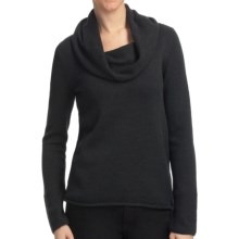 Lilla P Tuck Stitch Drape Neck Sweater - 7-Gauge Cotton Blend (For Women) in Graphite - Closeouts
