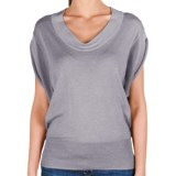 Lilla P U-Neck Blouson Sweater - Cotton-Modal, Short Sleeve (For Women)