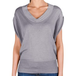 Lilla P U-Neck Blouson Sweater - Cotton-Modal, Short Sleeve (For Women) in Heather Grey