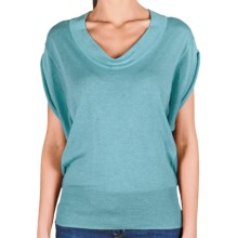 Lilla P U-Neck Blouson Sweater - Cotton-Modal, Short Sleeve (For Women) in Newport - Closeouts