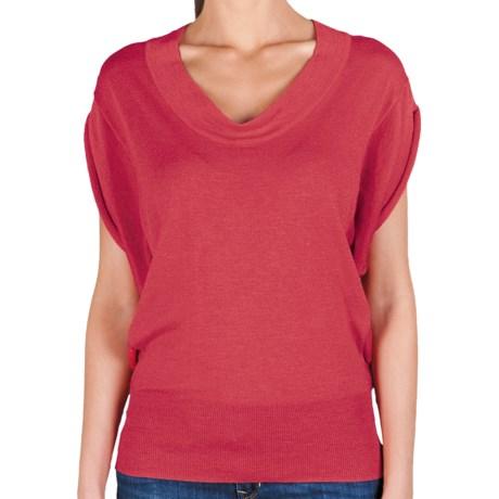 Lilla P U-Neck Blouson Sweater - Cotton-Modal, Short Sleeve (For Women) in Peony