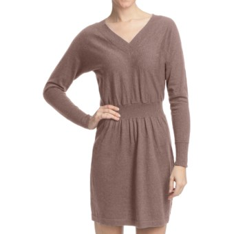 Lilla P V-Neck Sweater Dress - Cotton-Cashmere (For Women) in Mink