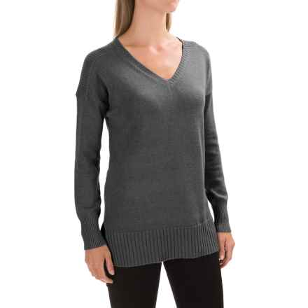 Lilla P V-Neck Tunic Sweater (For Women) in Coal - Closeouts