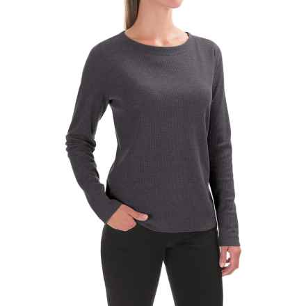 Lilla P Waffled Boat Neck Shirt - Long Sleeve (For Women) in Heather Gray - Closeouts