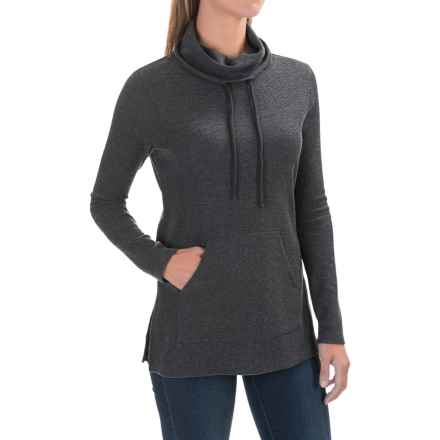Lilla P Waffled Cowl Neck Tunic Sweater (For Women) in Heather Gray - Closeouts