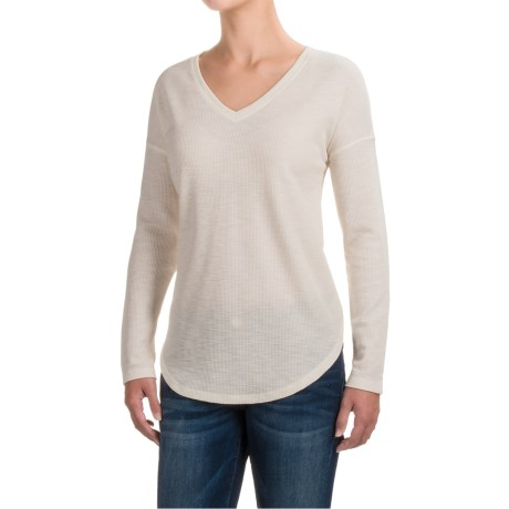 Lilla P Waffled Drop-Shoulder Shirt - V-Neck, Long Sleeve (For Women) in Heather Antique White