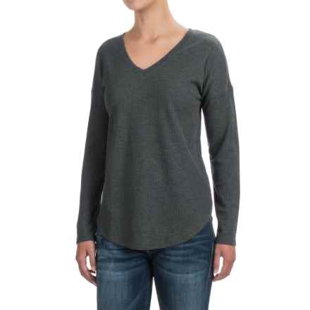 Lilla P Waffled Drop-Shoulder Shirt - V-Neck, Long Sleeve (For Women) in Heather Gray - Closeouts