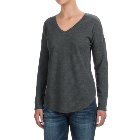 Lilla P Waffled Drop-Shoulder Shirt - V-Neck, Long Sleeve (For Women) in Heather Gray