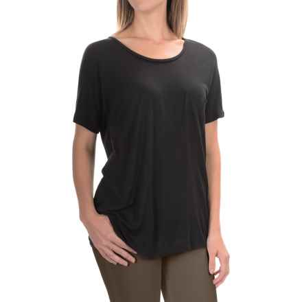 Lilla P Warm Viscose Pocket T-Shirt - Short Sleeve (For Women) in Black - Overstock