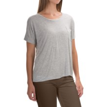 Lilla P Warm Viscose Pocket T-Shirt - Short Sleeve (For Women) in Heather Grey 2 - Overstock