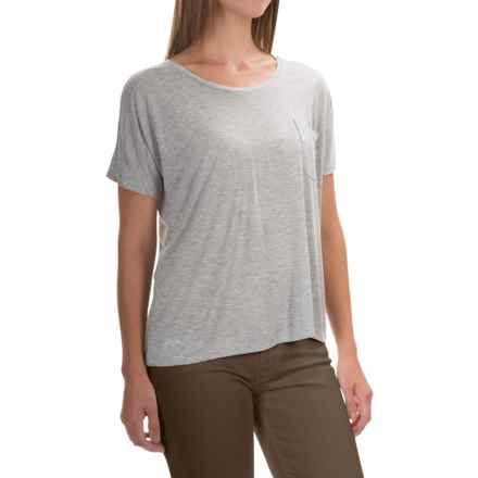 Lilla P Warm Viscose Pocket T-Shirt - Short Sleeve (For Women) in Heather Grey 2 - Overstock