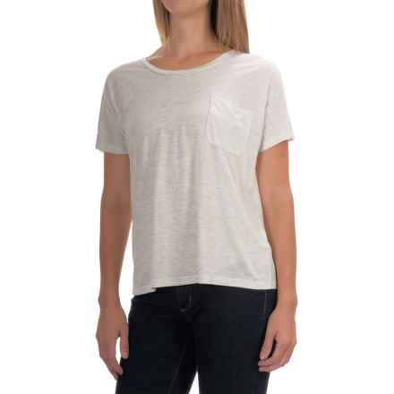 Lilla P Warm Viscose Pocket T-Shirt - Short Sleeve (For Women) in Oatmeal - Overstock