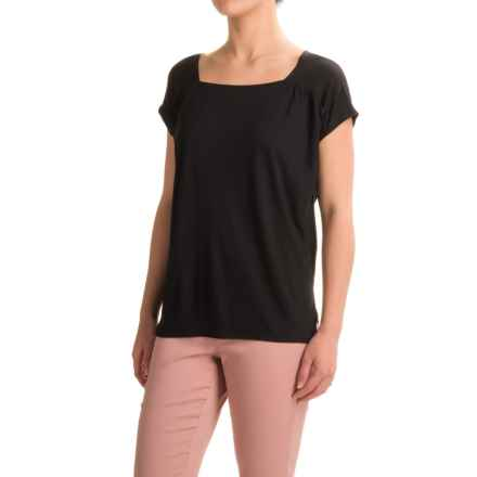 Lilla P Warm Viscose Square Neck Shirt - Short Sleeve (For Women) in Black - Closeouts