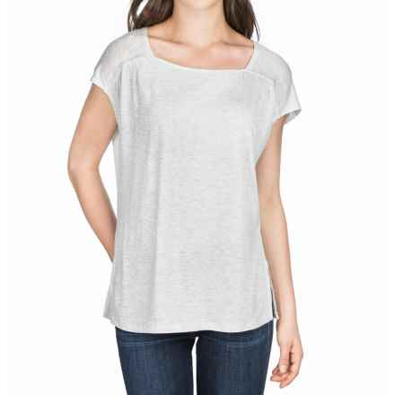 Lilla P Warm Viscose Square Neck Shirt - Short Sleeve (For Women) in Heather Grey - Closeouts
