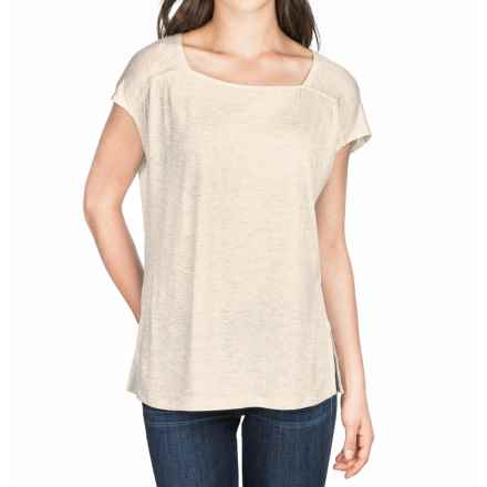 Lilla P Warm Viscose Square Neck Shirt - Short Sleeve (For Women) in Oatmeal - Closeouts