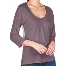 Lilla P Whisper Weight Color Block T-Shirt - Pima Cotton, 3/4 Raglan Sleeve, U-Neck (For Women) in Raven/Silver - Closeouts