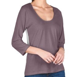 Lilla P Whisper Weight Color Block T-Shirt - Pima Cotton, 3/4 Raglan Sleeve, U-Neck (For Women) in Raven/Silver