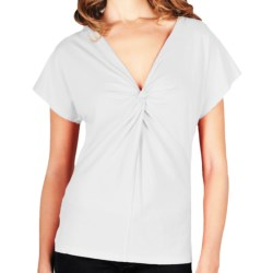 Lilla P Whisper Weight Knot-Front T-Shirt - Short Sleeve (For Women) in White