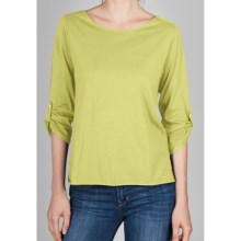 Lilla P Whisper Weight Pima Bateau Shirt - 3/4 Sleeve (For Women) in Celery - Closeouts