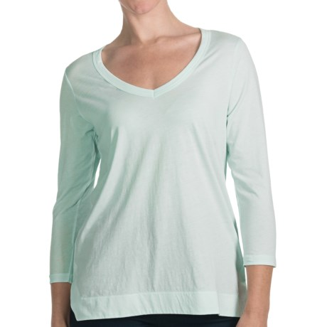 Lilla P Whisper-Weight Pima Cotton Seamed Shirt - 3/4 Sleeve (For Women) in Blue Glass