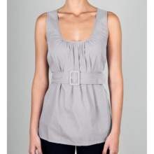 Lilla P Woven Cotton Scoop Tank Top - Shirred, Belted (For Women) in Mist - Closeouts