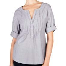 Lilla P Woven Cotton Tunic Shirt - 3/4 Sleeve (For Women) in Mist - Closeouts