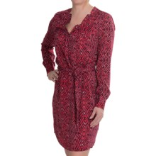 Lilla P Woven Notch Collar Dress - Long Sleeve (For Women) in Berry Print - Closeouts