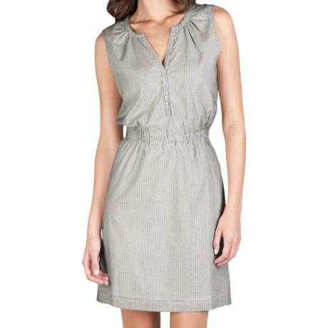 Lilla P Woven Pinstripe Henley Dress - Sleeveless (For Women) in Black Stripe 2