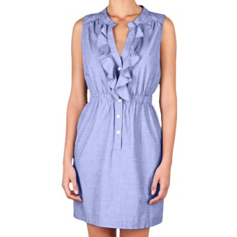 Lilla P Woven Shirt Dress - Cotton, Sleeveless (For Women) in Harbor