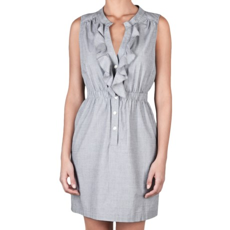 Lilla P Woven Shirt Dress - Cotton, Sleeveless (For Women) in Mist