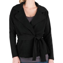 Lilla P Wrap Front Trench - French Terry, Long Sleeve  (For Women) in Black - Closeouts