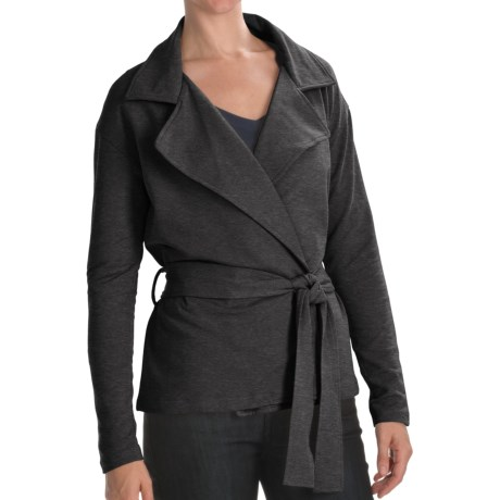 Lilla P Wrap Front Trench - French Terry, Long Sleeve  (For Women) in Gravel