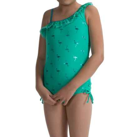 Limited Too Flamingo One-Piece Swimsuit - Fully Lined (For Big Girls) in Seafoam - Closeouts