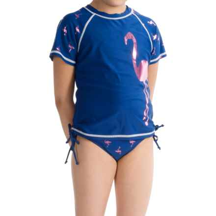Limited Too Flamingo Tankini and Rash Guard Swimsuit Set - 3-Piece, Short Sleeve (For Big Girls) in Navy - Closeouts