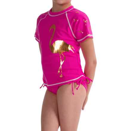 Limited Too Flamingo Tankini and Rash Guard Swimsuit Set - 3-Piece, Short Sleeve (For Big Girls) in Pink Glo - Closeouts