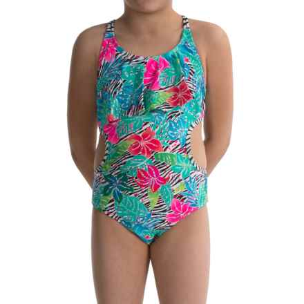 Limited Too Floral Cutout One-Piece Swimsuit - Fully Lined (For Big Girls) in Pink - Closeouts