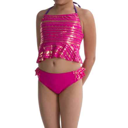 Limited Too Foil-Print Tankini Set (For Big Girls) in Pink - Closeouts